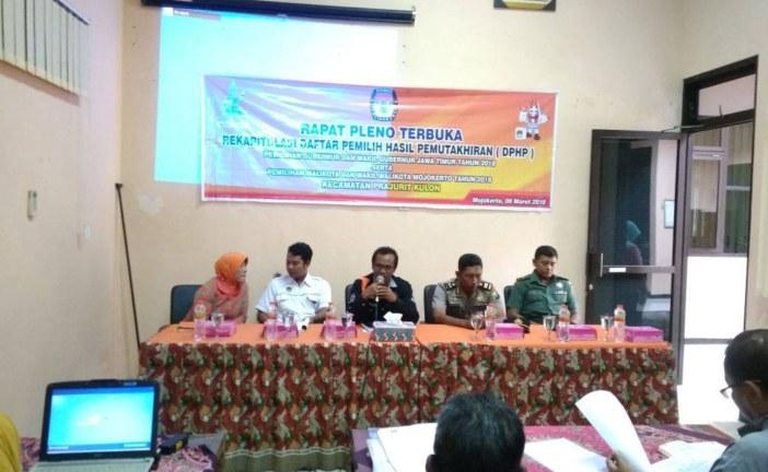 Setelah Kecamatan Kranggan, Monitoring DPHP KPU Kota Mojokerto Datangi Kecamatan Prajurit Kulon