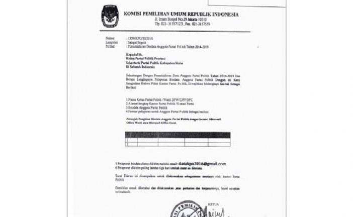 Surat Palsu Mengatasnamakan KPU RI