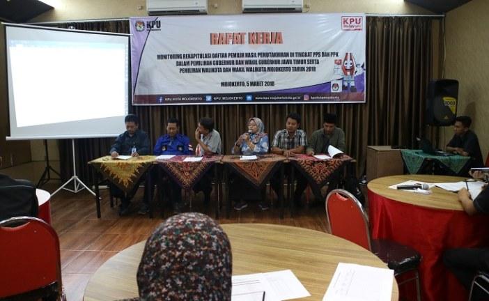 Internal KPU Kota Mojokerto Gelar Reker Monitoring Rekapitulasi Daftar Pemilih Hasil Pemutakhiran PPS Guna Pilgub dan Pilwali 2018