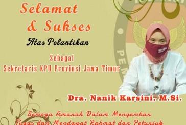 KPU Kota Mojokerto Ucapkan Selamat dan Sukses Atas Pelantikan Sekretaris KPU Provinsi Jawa Timur