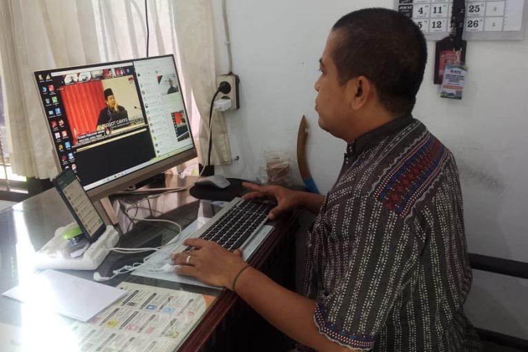 KPU Kota Mojokerto Hadiri Zoom Meeting Rapat Koordinasi Persiapan Pembentukan DP3 Serta Sosialisasi Pendidikan Pemilih